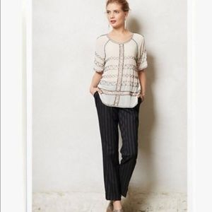 NEW Anthropologie Cartonnier Striped Black Pants 6